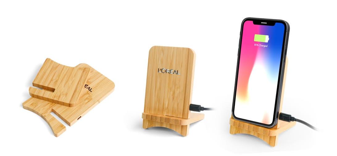 chargeur de portable en bambou